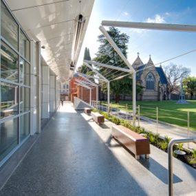 Non slip exterior finish to walkways